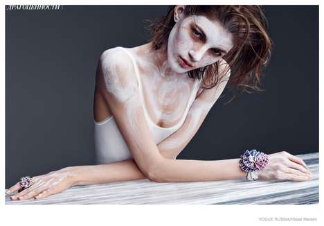 Fashionable Face Paint Photoshoots - The Vogue Russia Valery Kaufman Editorial Shows Bold Cosmetics