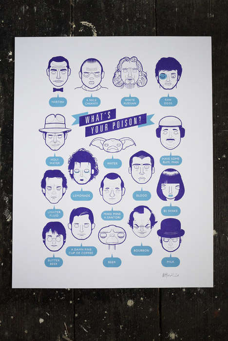Pop Culture Drinking Charts - Richard Horne's What's Your Poison? Art Print is Party-Themed