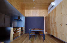 Plywood Interior Residences - The House in Asahiku's Black Exterior is Misleading