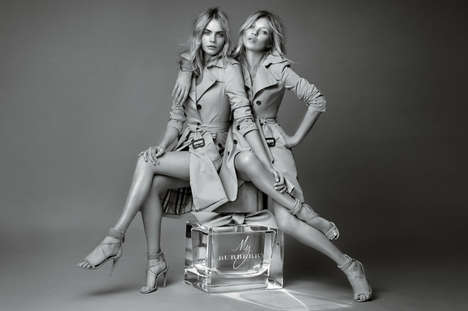 Dual Celebrity Perfume Campaigns - Kate Moss and Cara Delevingne Team Up for a Burberry Campaign