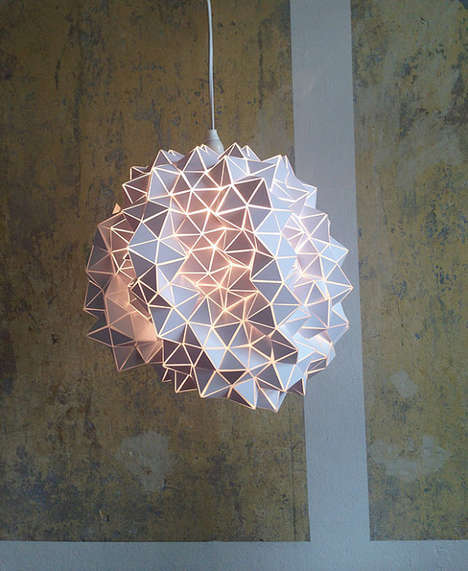 Organically Geometric Lighting - This Handmade Geodesic Lampshade from Etsy is Origami-Inspired