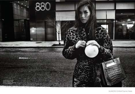 Retro Grayscale Editorials - The Photoshoot Starring Liu Wen for Numero China is Midtown Chic