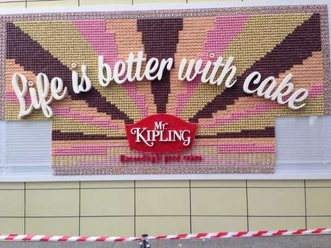 Edible Cake Billboards - Mr Kipling Shows That 'Life is Better with Cake' by Sharing a Sweet Ad