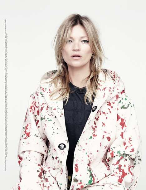 Spattered Supermodel Editorials - Kate Moss Rocks Paint-Covered Clothes for AnOther Fashion Magazine