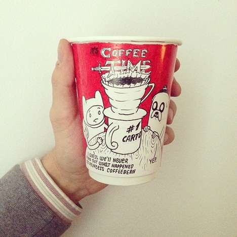 Fictitious Caffeine Branding - Luftaffe's Illustrated Paper Cup Design Features Fake Coffee Brands