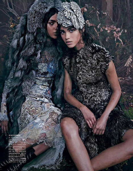 100 Luxe Vogue Japan Features - From Opulent Market Editorials to Woodland Couture Portraits