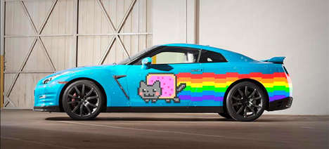 Photoshopped Meme Cars - Nissan Shows Deadmau5 What His New GT-R Nyan Cat Car Could Look Like