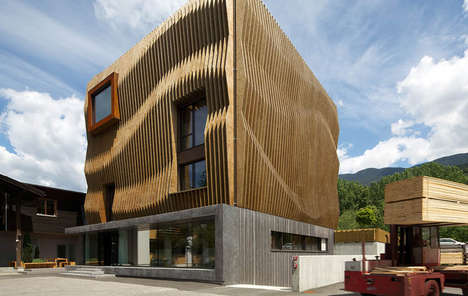 Finned Wood Buildings - Modus Architects Uses an Intricate Texture for Headquarters in Italy