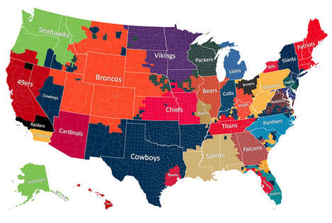 Fandom Football Maps - This Facebook Football Infographic Maps the Most Liked NFL Teams