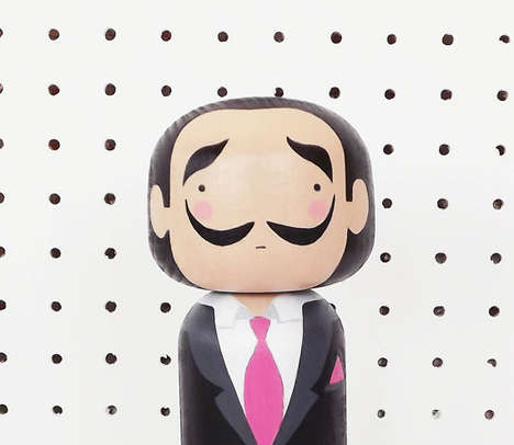 Wooden Artist Bobbleheads - Etsy's Sketch Inc Shop Features a Salvador Dali Figurine
