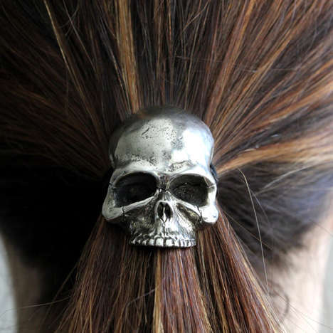 Skeletal Hair Accessories - This Skull Ponytail Elastic Design Has a Stylized Vintage Look