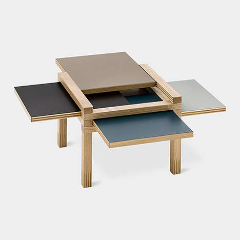 Dynamic Puzzle Furnishings - The Par4 Coffee Table Opens to Reveal Extra Storage Space