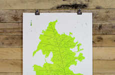Leafy Urban Decals - These City Leaf Map Posters Celebrate Iconic American Places