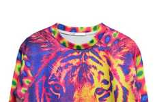 Psychedelic Jungle Apparel - This Printed Tiger Sweater from Elegantiz Embraces Eccentricity