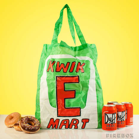 Cartoon Convenience Store Bags - This Kwik E Mart Shopping Bag Design is Inspired by the Simpsons
