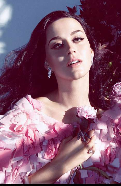 Botanical Songstress Editorials - Singer Katy Perry Poses for the Newest Cover of Harper's Bazaar
