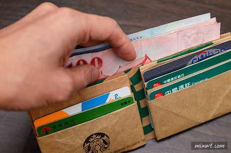 Origami Paper Wallets - This Durable Wallet Design is Made from an Upcycled Starbucks Paper Bag