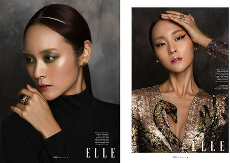 Oriental Beauty Editorials - Elle Vietnam's Thien Su Fashion Story Highlights Luxe Beauty Looks