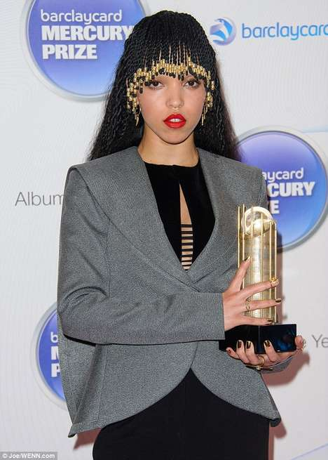 Braided Beaded Bangs - FKA twigs Debuts a Hairstyle Worthy of a Modern Day Cleopatra