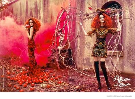 Fairy Tale Anime Fashion - The Latest Alice + Olivia Campaign Stars an Enchanting Lisa Cant
