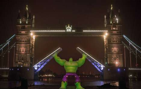 Superhero Projection Stunts - This Toy Ad Takes Projected Characters on a Journey Through London