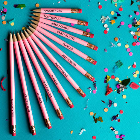 Lyrical Popstar Pencils - These Song Title Pencils Celebrate the New Beyonce Bang Bang Music Video