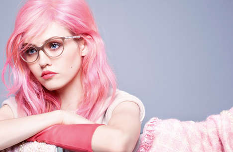 Pink-Haired Eyewear Campaigns - This Charlotte Free Campaign Showcases Chanel's Elegant Accessories