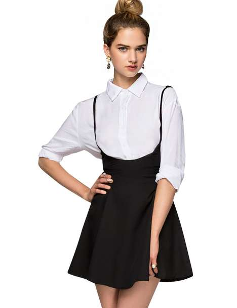 Sophisticated Schoolgirl Fashions - This High-Waisted Suspender Skirt from Pixie Market is Elegant