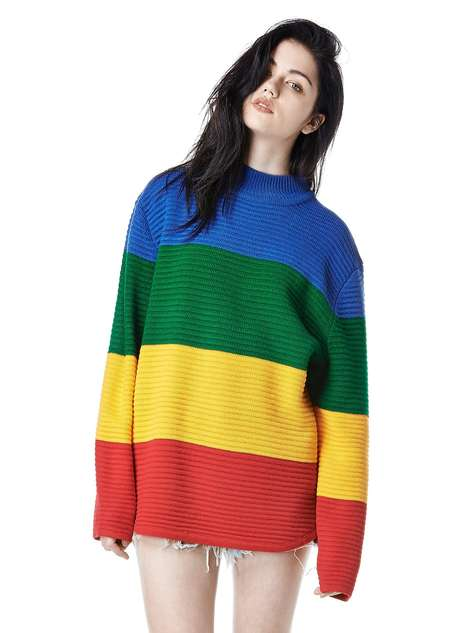 Chic Crayon-Inspired Apparel - UNIF's Oversized Knit Sweater Boasts Primary Colored Stripes