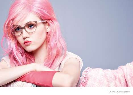 Pink-Haired Fashion Ads - The Latest Chanel Fall Eyewear Campaign Stars Model Charlotte Free