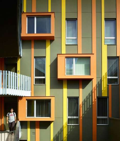 Sociable Apartment Complexes - This Affordable Apartment Building Incorporates Color and Playfulness
