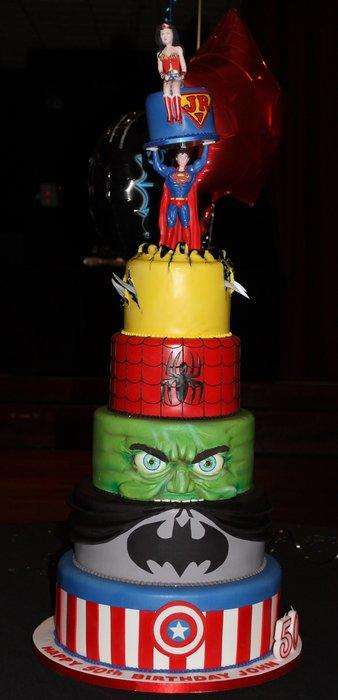Stacked Superhero Cakes - This Seven Tiered Decorative Cake is Topped with Various Comic Heros