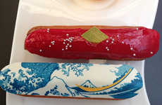 Iconic Art Eclairs - These Artistic Eclair Desserts Boast Hokusai's Classic Woodblock Print