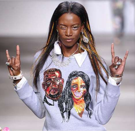 Celeb Face Fashion - Designer Ashish Gupta Creates a Sequinned Kimye Sweatshirt
