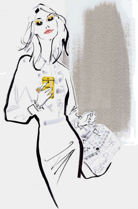 Chic Smartphone Illustrations - Jacqueline Bissett's Fashion Illustration Drawings Feature HTC's M8