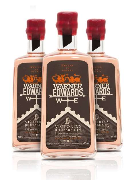Rhubarb-Infused Spirits - Warner Edwards' Flavored Gin Bottle Prominently Features Rhubarb