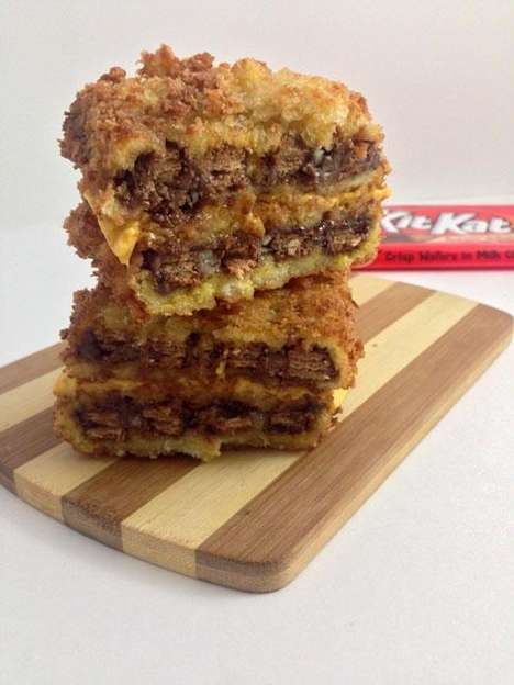 Cheesy Fried Chocolate Sandwiches - This DudeFoods Candy Bar Grilled Cheese has Deep Fried KitKats