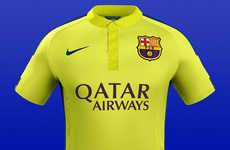 Bold Yellow Jerseys - The New Barcelona Third Kit Features Two-Tone Yellow