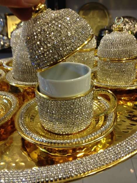 Bejeweled Cup Covers - This Extravagent Swarovski Crystal Coated Cup is for Serving Turkish Coffee