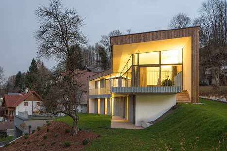 Varied Veneer Abodes - The House T in Austria Changes as One Walks Around the Outside