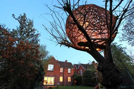 Organic Orb Playhouses - This Intricately Woven Natural Tree House is Spherical in its Shape
