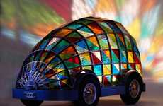 Stained-Glass Driverless Cars - Dominic Wilcox Designs a Bizarre Concept Car Complete with a Bed