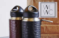 Crocodile Skin Canteens - These Coffee Tumblers from Watch Life with Curiosity are Overtly Lavish