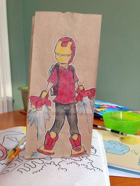 Heroic Paper Bag Art - Brian Dunn's Lunch Bag Illustrations Reference Iconic Characters