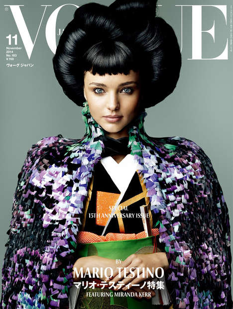 Extravagant Geisha Portraits - This Vogue Japan Coverstory for November Features Miranda Kerr