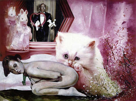 Surreal Cat Paintings - Martin Eder Creates Bizarrely Erotic Artworks with Animals and Women