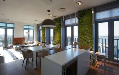 Green Paneled Homes - SVOYA Studio Designed this Apartment with Green Walls