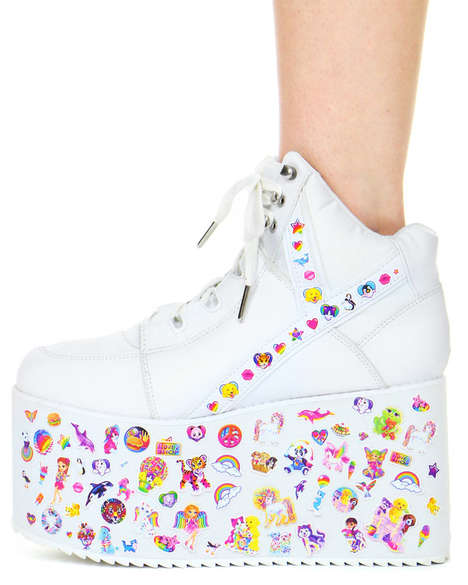 Personalized Platform Kicks - These Tall Platform Sneakers Can Be Customized With Stickers