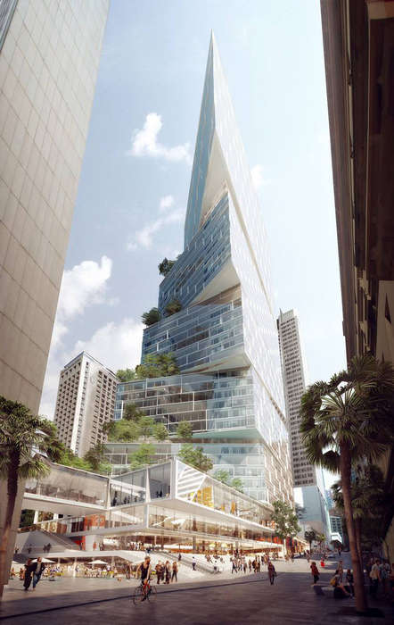 Stacked Triangular Towers - The Quay Quarter Tower in Sydney Has a Geometric Design