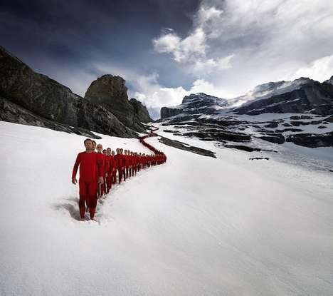 Synchronized Mountaineering Photography - Robert Boesch Photographed a Mountaineering Team